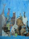 Blue Bottles, collage